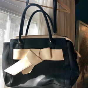 JustFab Black Tote Purse With Cream Bow
